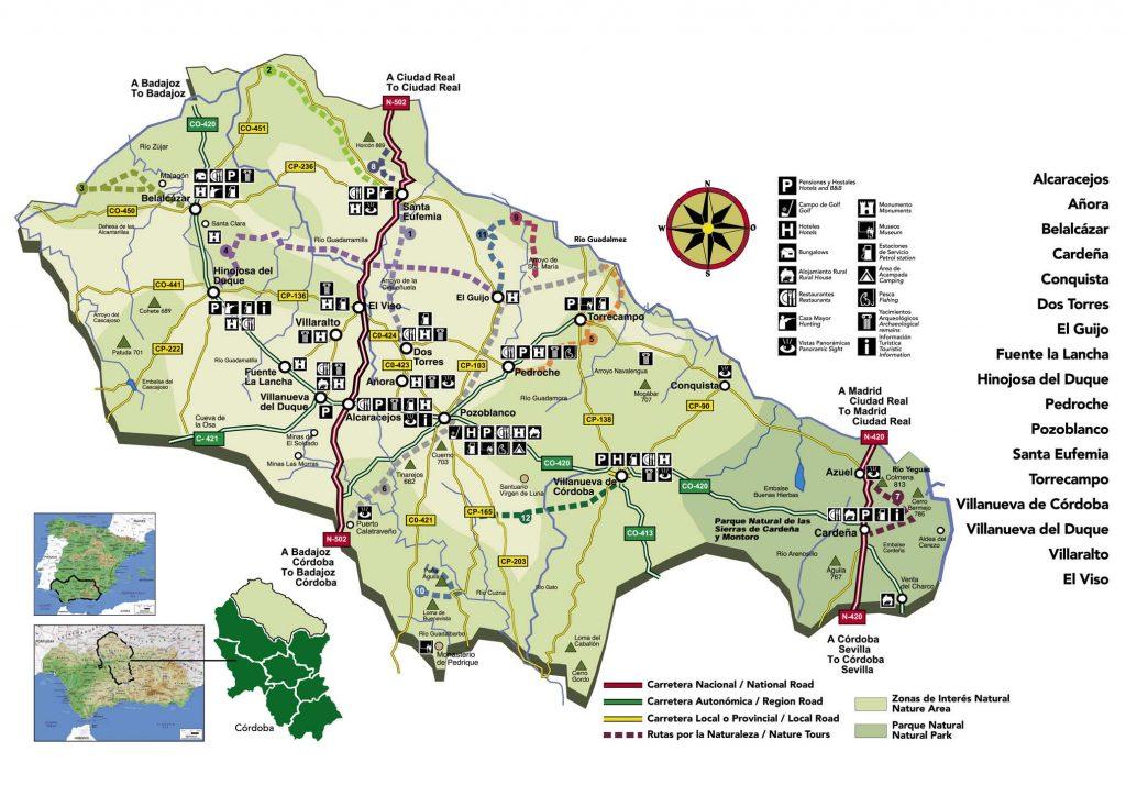 Mapa de la Comarca de los Pedroches